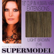 Supermodel Clip In Human Hair Extensions 18 -inch Colour 14 Light Ash Brown