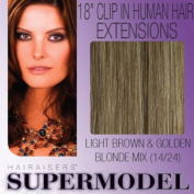 Supermodel Clip In Human Hair Extensions 18 -inch Colour 14/24 Honey Brown and Blonde
