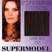 Supermodel Clip In Human Hair Extensions 18 -inch Colour 32 Deep Auburn