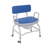 Extra Wide Shower & Commode Chair - Adjustable Height with Detachable Arms