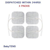"""12 x Tens Electrodes pads,replacements (3 PACKS OF 4), Back, Hip, Leg, Labour pain relief 2"""" x 2"""" 5x5cm 50x50mm ELLE, Femme. Lady, Boots, Babi, Obi, Lloyds and Neurotrac"""