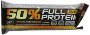 QNT 50% Full Protein 50 g Chocolate Muscle Development and Recovery Snack Bars - Box of 12