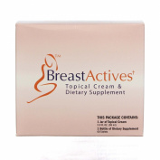 Breast Actives 1 KIT Breast Enhancement Kit by Breast Gain Plus 1 - 60 Tablet Bottle and 1 - 60ml Jar of Cream