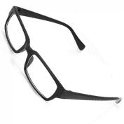 Black Rectangle Plastic Frame Clear Lens Glasses