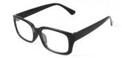Ladies Men Black Shiny Plastic Arms Full Frame Rectangle Clear Lens Glasses