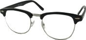 Clubmaster Style Retro Vintage Geek Style Glasses- Clear Lens. Black