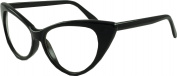 Cat's Eye Retro Geek Style Glasses Clear Lenses -Black