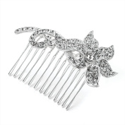 Medium Bridal Silver Clear Crystal Diamante Stem Flower Hair Comb Accessory W7.5 x H5.5 x D1 cm Silver