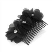 Black Triple Flower Crystal Hair Comb AJ24131