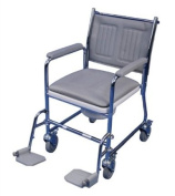 Linton mobile commode finished in chrome-plating with footrests