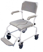 Height Adjustable Bewl Attendant Propelled Commode Chair With Ergonomic Seat And Back