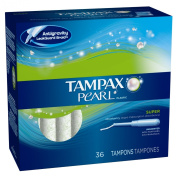 Tampax Pearl Super Absorbency Tampons with Plastic Applicator, Unscented, 36-Count Boxes