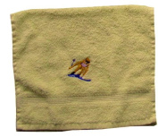 Towel with Embroidery Skifahrer