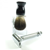 PURE BADGER SHAVING BRUSH & DOUBLE EDGE RAZOR SHAVING SET