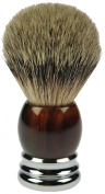 Fantasia 84046 Badger Shaving Brush, Silver-Tipped, Height 10 cm, Tortoiseshell/Chrome