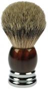 Fantasia 84046 Badger Shaving Brush, Silver-Tipped, Height 10 cm, Tortoiseshell/Chrome