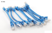 CablesOnline 10-PACK 15cm CAT5e UTP Ethernet RJ45 Full 8-Wire Blue Patch Cable,