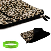 33cm Exotic Leopard Print Faux fur Laptop Sleeve for the Apple Macbook air Ultrabook with a zipper pocket. Interior Fabric flap to keep your device in place and prevent fallouts + Vangoddy Live Laugh Love Bracelet