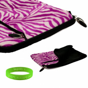 33cm Darling Pink ZebraFaux fur Laptop Sleeve for the Apple Macbook air Ultrabook with a zipper pocket. Interior Fabric flap to keep your device in place and prevent fallouts + Vangoddy Live Laugh Love Bracelet