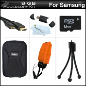 8GB Accessories Kit For for for for for for for for for for for Samsung HMX-W200 Waterproof HD Pocket Camcorder Includes 8GB High Speed Micro SD Memory Card + FLOAT STRAP + Mini HDMI Cable + USB 2.0 Card Reader + Case + Mini TableTop Tri