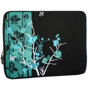 33cm Midnight Green Sparse Floral Laptop Notebook Sleeve Slip Case Bag for most of MacBook Acer Asus Dell HP Lenovo Sony