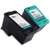 Printronic Remanufactured Ink Cartridge Replacement for HP 74XL 75XL CB336WN CB338WN (1 Black, 1 Colour) 2 Pack