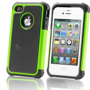 Dynamic Buddy Box - USA Company - Green - Rugged Rubber Combo Hybrid Hard Back Cover Case for iPhone 4/4s + Screen Protector