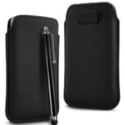 N4U Accessories Black Superior Pu Soft Leather Pull Flip Tab Case Cover Pouch & High Sensitive Stylus Pen For Lg Opitmus L7 P700