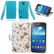 IZENGATE Samsung Galaxy S4 Active I9295 Elegant Floral Skin Premium PU Leather Wallet Flip Case Cover Folio Stand