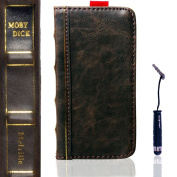 Eco-Fused Genuine leather Vintage Classic Book Series handmade Case for Apple iphone 5 / One Short Stylus / Eco-Fused® Microfiber Cleaning Cloth Included - Moby Dick