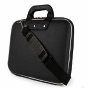 SumacLife Cady Collection Durable Semi Hard Shell Protective Carrying Case w/ Removable Shoulder Strap (Black) for HP Pavilion Chromebook, spectre series Ultrabook 36cm Laptops