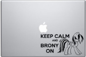 Keep Calm and Brony on Rainbow Dash - Black Decal for Macbook or Laptop