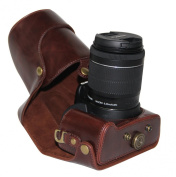 """MegaGear """"Ever Ready"""" Protective Brown Leather Camera Case, Bag for Canon EOS Rebel SL1 with 18-55mm EF-S IS STM , Canon Eos 100D , Kiss X7"""