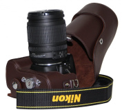 """MegaGear """"Ever Ready"""" Brown Leather Camera Case for New Nikon D5200 Cameras with 18-55mm VR Lens"""
