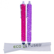 *BLING* Stylus Pens! Two Long Gem Covered Stylus Pens (PURPLE, PINK) compatible with iPad 1 2 3, iPhone, iPod Touch, Android Tablets, Samsung Galaxy Tablet - ECO-FUSED® Microfiber Cleaning Cloth 14cm x 7.6cm included