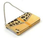Case Star ® Gold Shiny Leopard Metal electroplate Surface Handbag Style Hard Case Cover with Chain for iPhone 4 4S + Case Star Cellphone Bag