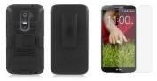 LG G2 (Verizon, AT & T, Sprint, T-Mobile) - Accessory Kit - Black Dual Layer Hybrid Kickstand Case + Swivel Belt Clip Holster + Atom LED Keychain Light + Screen Protector