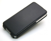 Jnt (The Thinnest Leather Case in the World) 1mm Edge Thickness Aluminium Coated Pu Leather Case Cover for Apple Iphone 4 4g 4s Black