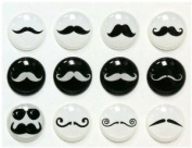 Red Rock Black and White Moustache Styles 12 Pieces Home Button Stickers for iPhone 5 4/4s 3GS 3G, iPad 2, iPad Mini, iPod Touch