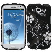 Fosmon MATT Series Rubberized Design Case for Samsung Galaxy S III i9300 / ATT SGH-i747 / Verizon SGH-i535 / T-mobile SGH-T999 / Sprint SPH-L710 - White Flower