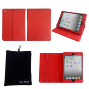 Bear Motion 100% Genuine Leather Case for iPad Mini 20cm / the Mini iPad 20cm / built-in Stand for Apple Ipad Mini Tablet (Support Smart Cover Function) - MP Red