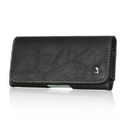 VMG For Apple iPhone 5C Cell Phone Leather Holster Belt Clip Case Cover - Black Faux Suede Design