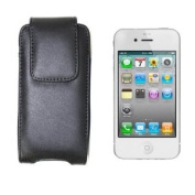 Black Leather Holster Case Cover with Belt Clip for Apple iPhone 5, LG Voyager, T-Mobile Sidekick 2008, Palm Centro Cellular Phone Accessory