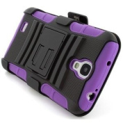 ShopNY Purple Rugged Hybrid Heavy Duty Hard Case Cover Belt Clip Holster Kickstand for Samsung Galaxy S4 SIV i9500