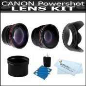 Lens Kit For The Canon Powershot G12, G11, G10 Digital Camera Includes 2x Telephoto and .45x Wide Angle Lens with Adapter Tube + Lens Hood + 3 Piece Lens Cleaning Kit + BP MicroFiber Cloth