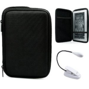 Black Slim Stylish Hard Cover Nylon Protective Carrying Case Folio for Sony PRS-950 Electronic Reader eReader Device ( PRS 950 PRS950 )(Compatible with all colours) + Indlues a 10cm Determination Hand Strap + White Clip On Brighty XtraFlex LED Light F ..