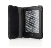 mCover Leather Folio Cover Case with built-in inner pocket for 15cm Amazon Kindle PaperWhite with Built-in Sleep/Wakeup function and FREE High-Quality Stylus - Black