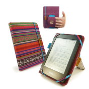 Tuff-Luv Embrace Plus Material Case Cover for Amazon Touch / Paperwhite (Sleep Function) / Sony Kobo Touch - Navajo