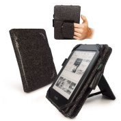 Tuff-Luv Natural Hemp 'Embrace Plus' case cover & stand for Kindle Touch / Paperwhite (Sleep Book) / 15cm E-Ink - Black