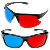 GTMax 2x Red and Cyan Glasses Fits over Most Prescription Glasses for 3D Movies, Gaming and TV